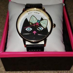 Betsey Johnson girly kitty watch black